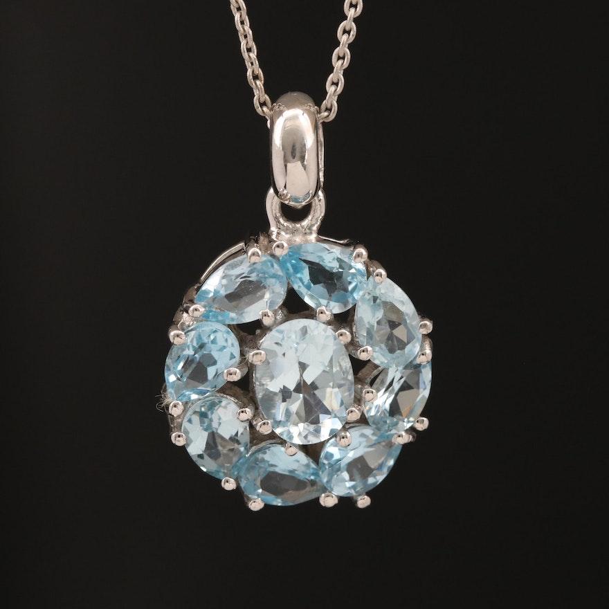 Sterling Silver Topaz Cluster Pendant Necklace