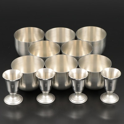 Pewter Liqueur Goblets and Royal Holland Drinking Cups, Late 20th Century