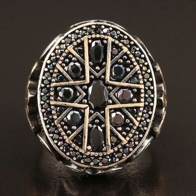 Sterling Black Spinel Ring