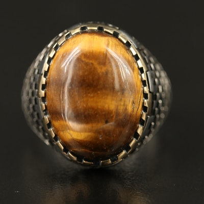 Sterling Tiger's Eye Ring with Checkered Motif Shoulders