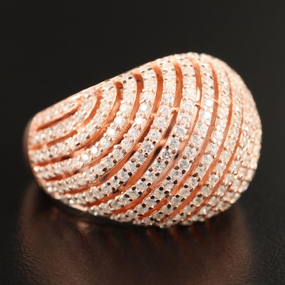 Sterling Silver Cubic Zirconia Domed Ring
