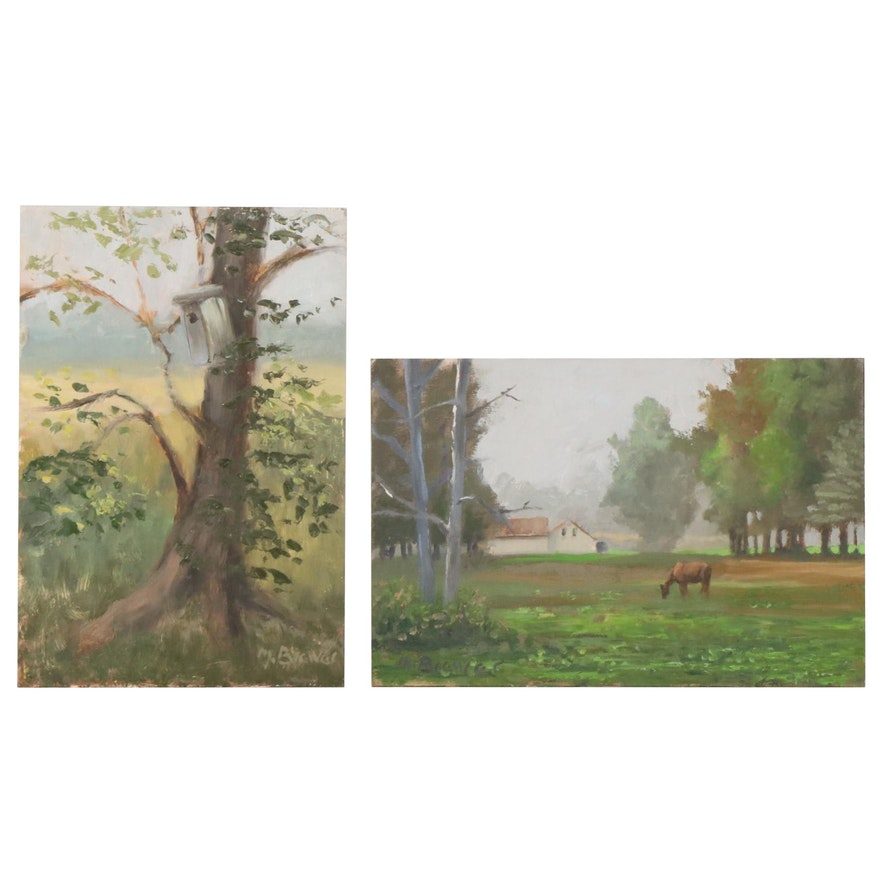 Marcus Brewer Rural Landscape Oil Paintings, 21st Century