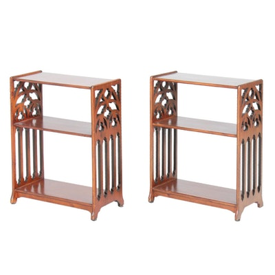 Pair of Chelsea House Victorian Style Wood Bookcases