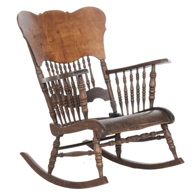 Victorian Style Oak and Ash Spindle Rocking Chair, circa 1940