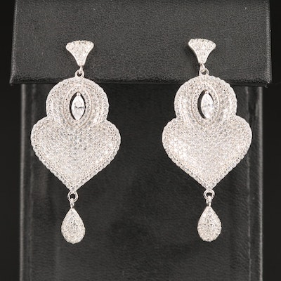 Sterling Silver Pavé Cubic Zirconia Drop Earrings