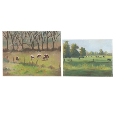 Marcus Brewer Oil Paintings of Grazing Animals, 21st Century
