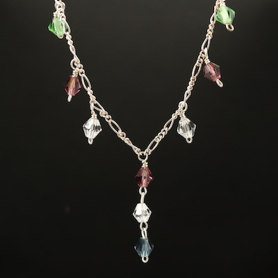 Sterling Silver Multi-Colored Glass Station Necklace