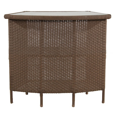 Synthetic Wicker Weave Glass Top Patio Bar with Shelves