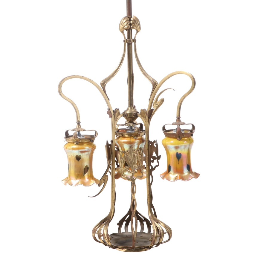 Large Brass Chandelier with Favrile Style Iridescent Art Glass Shades