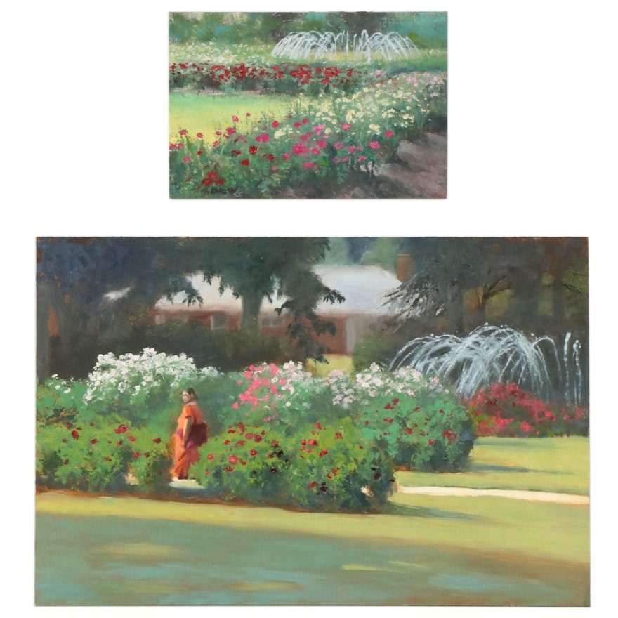 Marcus Brewer Oil Paintings of The Columbus Park of Roses, Early 21st Century