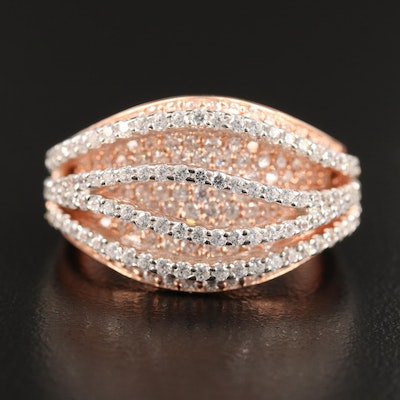 Sterling Pavé Cubic Zirconia Domed Curved Row Ring
