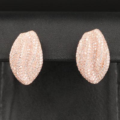 Sterling Cubic Zirconia Drop Earrings with Drape Motif