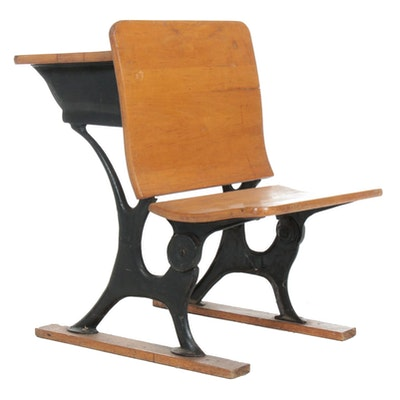 Maple and Cast Iron Student Desk, Early 20th Century