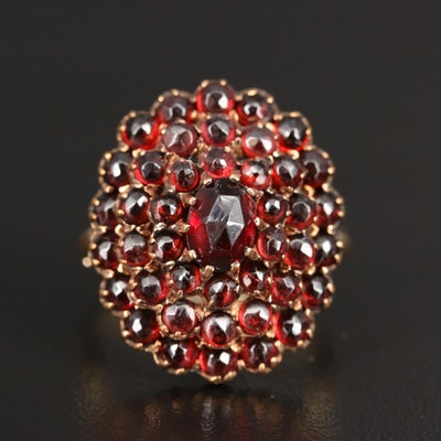 14K Tiered Garnet Ring with Arthritic Shank