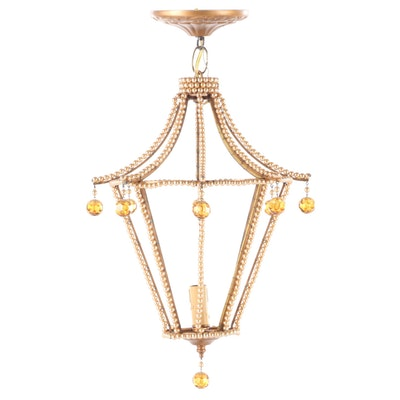 Carriage Lamp Style Beaded Metal Pendant, Contemporary