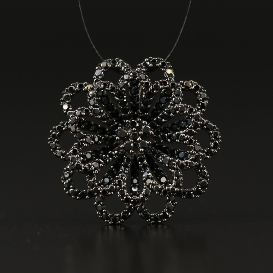 Sterling Silver Cubic Zirconia Flower Pendant