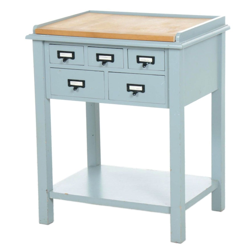 Teal Painted Preston 5-Drawer Table With Wooden Removable Top