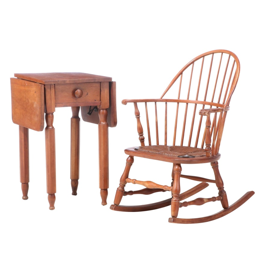American Primitive Cherrywood Drop-Leaf Side Table Plus Sack-Back Windsor Rocker