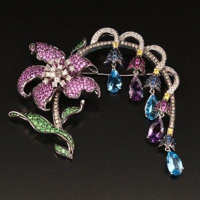 18K Diamond, Amethyst, Topaz, Sapphire and Tsavorite Garnet Floral Brooch