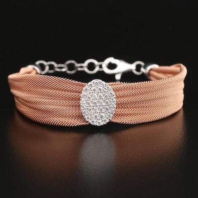 Sterling Silver Mesh Bracelet with Cubic Zirconia Accent