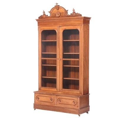 Renaissance Revival Walnut and Burl Walnut Bookcase, Third Quarter 19th Century