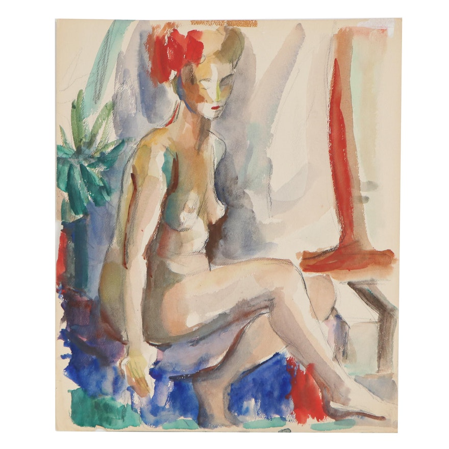Yolanda Fusco Figure Study Watercolor Painting, Mid to Late 20th Century
