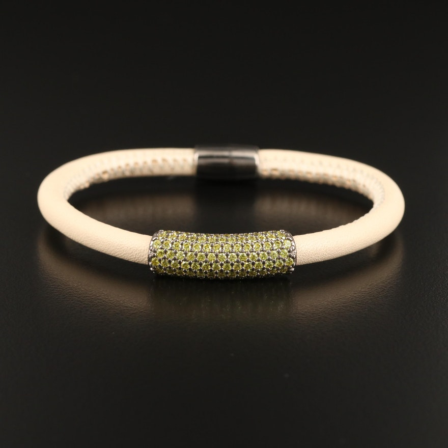 Pavé Cubic Zirconia Sterling and Leather Bracelet with Magnetic Clasp