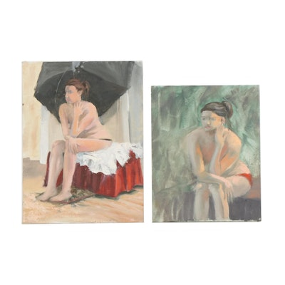 Marcus Brewer Studio Portraits Oil Paintings of Nude Woman