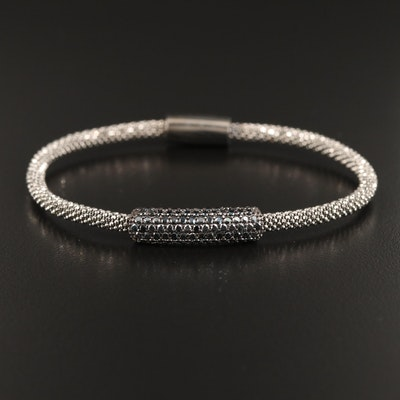 Sterling Silver Mesh Style Bracelet with Spinel Accents