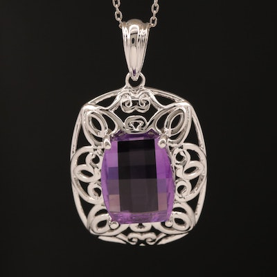 Sterling Amethyst Scrollwork Pendant Necklace