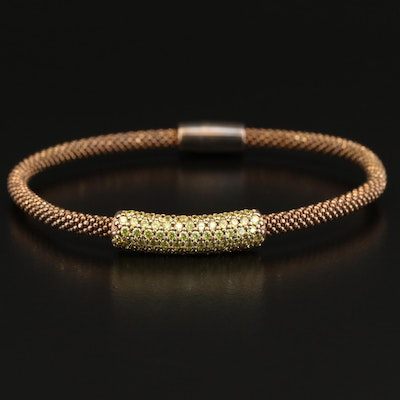 Sterling Silver Mesh Style Bracelet with Cubic Zirconia Accents