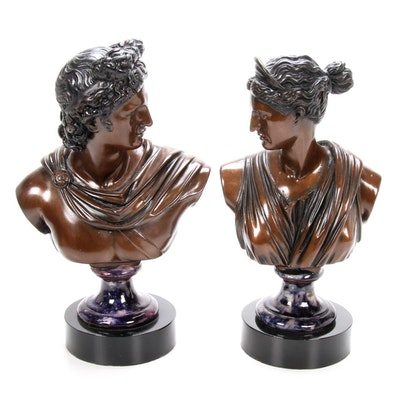 Apollo and Diana Painted Resin Busts