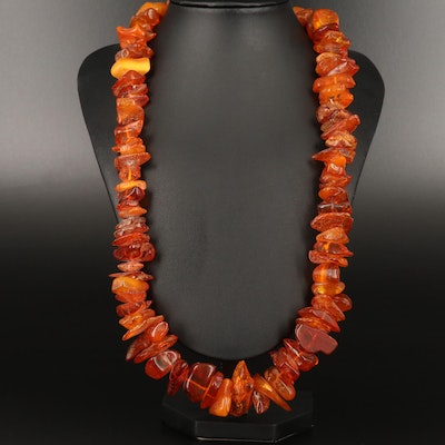 Endless Freeform Amber Necklace