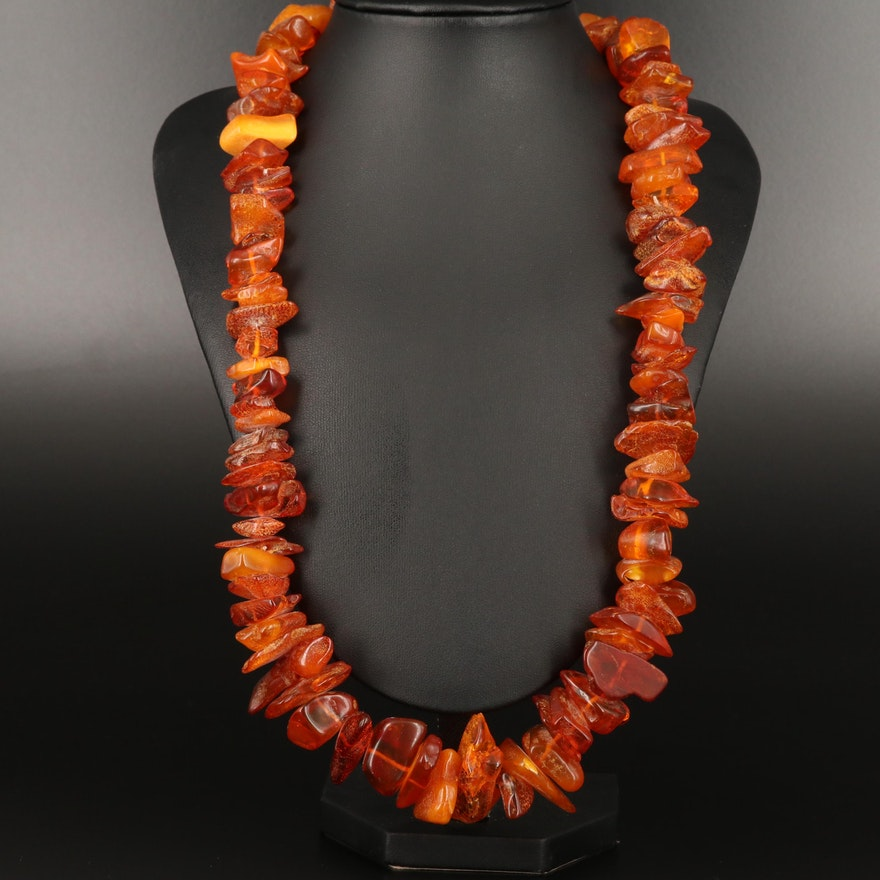 Endless Freeform Amber Necklace