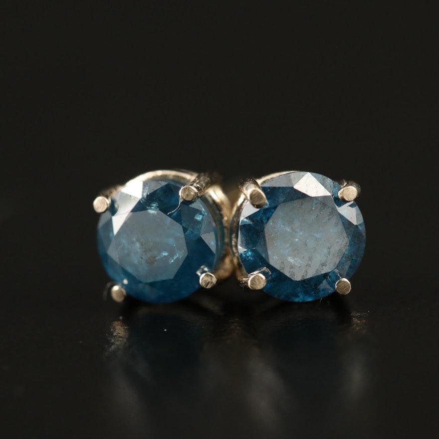 14K 1.36 CTW Blue Diamond Stud Earrings