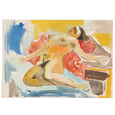 Yolanda Fusco Watercolor Painting Figure Study, Mid to Late 20th Century