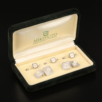 Mikimoto Sterling Mother of Pearl and Pearl Tuxedo Set with Box