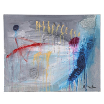 """Randy Groden Abstract Mixed Media Painting """"Cilla"""""""