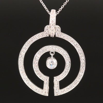 Sterling Cubic Zirconia Circular Pendant with Center Drop