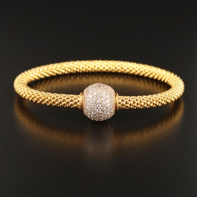Sterling Silver Mesh Style Bracelet with Pavé Cubic Zirconia Bead Clasp
