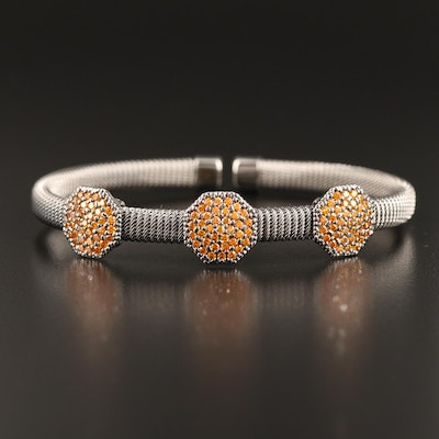 Sterling Silver Cubic Zirconia Station Mesh Cuff