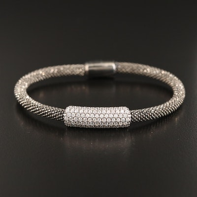 Sterling Silver Cubic Zirconia Soft Band Bangle Bracelet