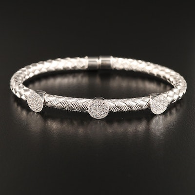 Woven Sterling Silver and Cubic Zirconia Cuff with Magnetic Clasp