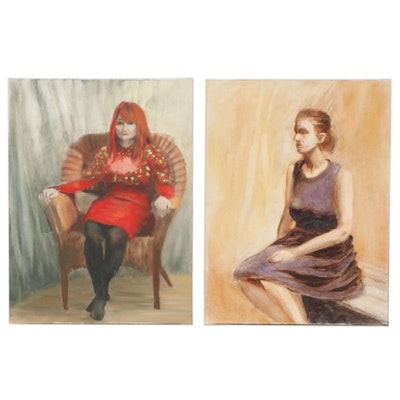 Marcus Brewer Oil Studies of Seated Women, 21st Century