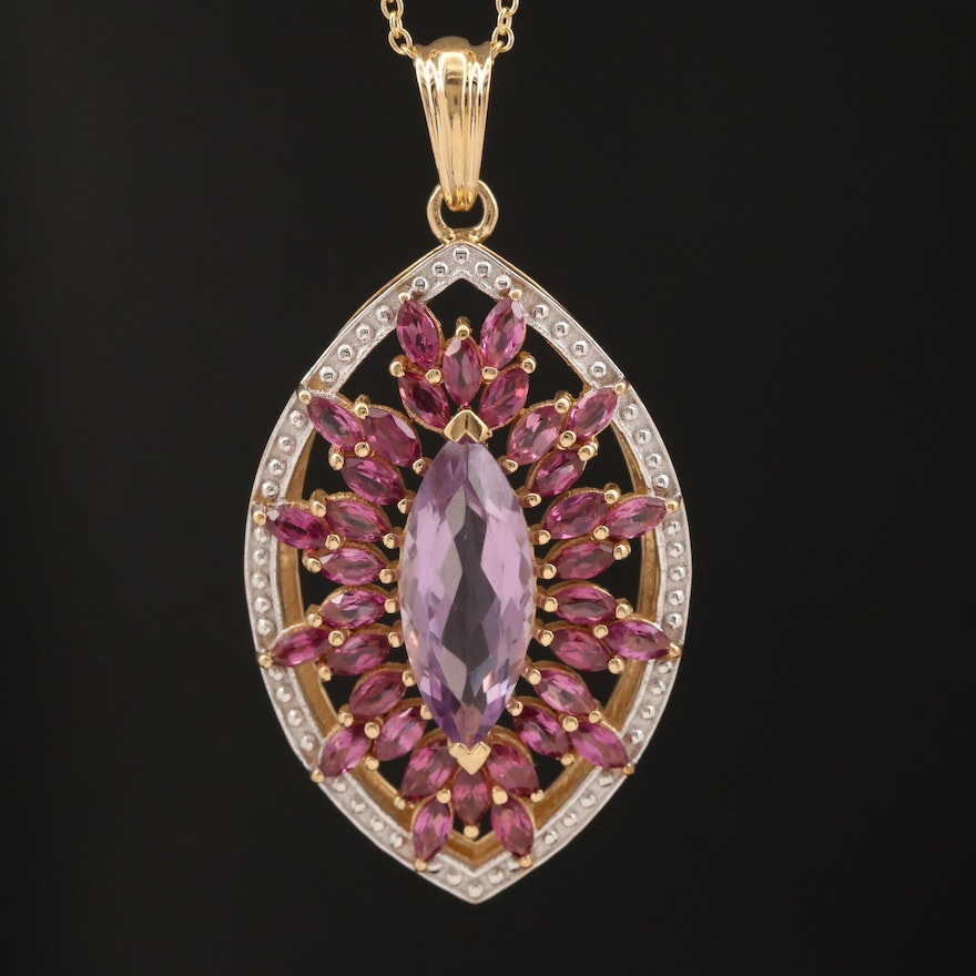 Sterling Silver Amethyst and Garnet Pendant Necklace