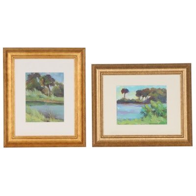 S. A. Johnson Oil Paintings of Pond Landscapes