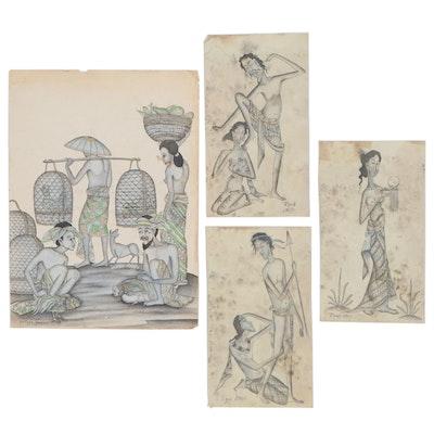 Balinese Folk Art Mixed Media Paintings, 20th Century