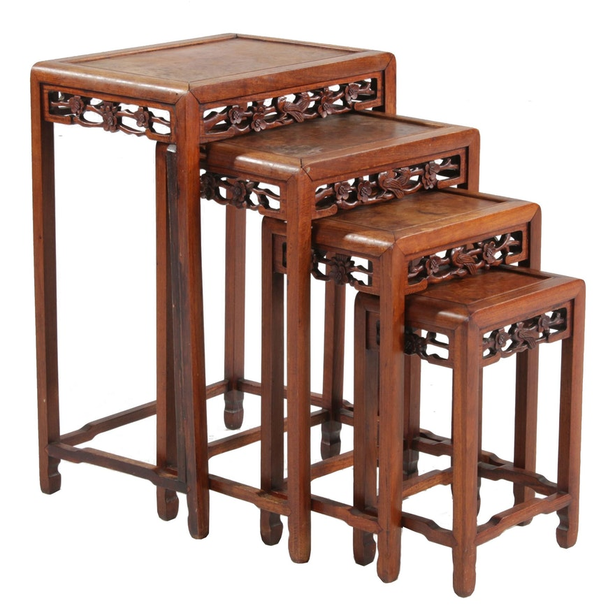Chinese Carved Burl Wood Nesting Tables, 20th Century