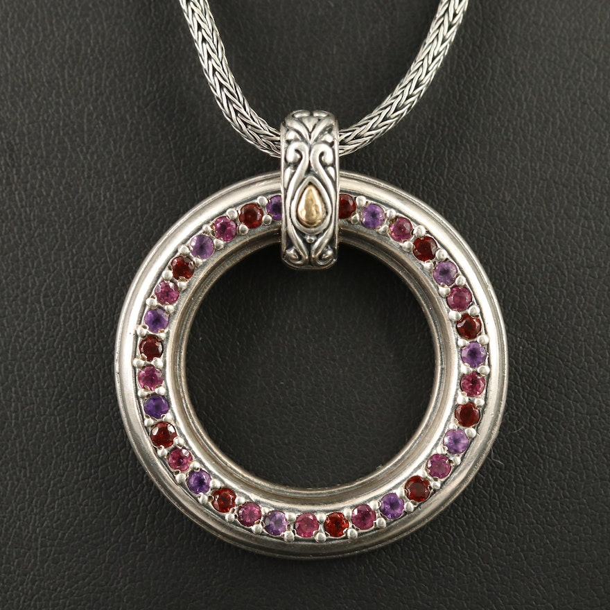 Sterling Silver Amethyst, Garnet and Tourmaline Pendant Necklace with 18K Accent