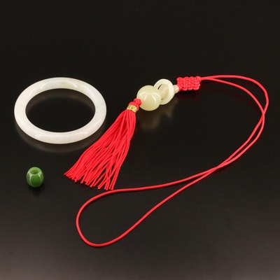 Jadeite Hololith Bangle with Serpentine Endless Knot Necklace